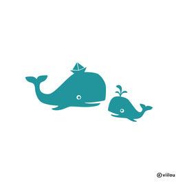 Wandsticker Wal mit Kind
