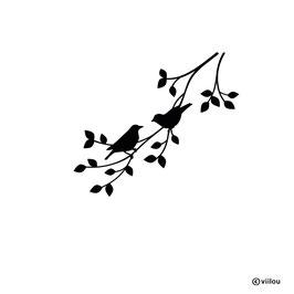 Wandsticker Vogelpaar auf Zweig