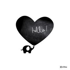 Kreidetafel Sticker Elefant mit Herz