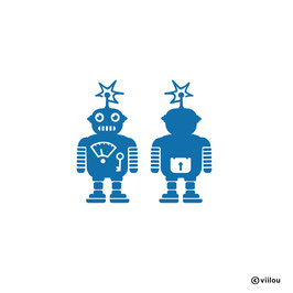 Patches: Bügelbild Roboter x2