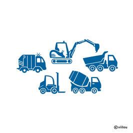 Wandtattoo Baustelle Fahrzeuge
