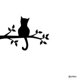 Wandsticker Katze auf Ast Silhouette