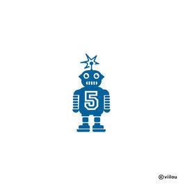 Geburtstag Patches Zahlen: Roboter R2 mit Zahl Bügelbild