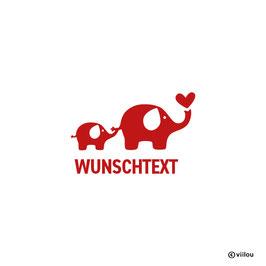 Türsticker Elefanten mit Text