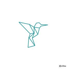 Wandsticker Kolibri Origami