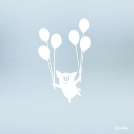 Fenstersticker Schweinchen mit Luftballons