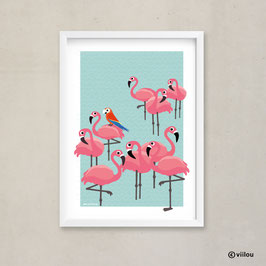 Poster Illustration: Flamingos & Papagei