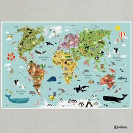 Weltkarte für Kinder - Poster in XXL