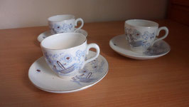 LOT DE 3 TASSES ET SOUS TASSES FLEURS BLEUES FREGOUT AND CO MAASTRICHT HOLLANDE
