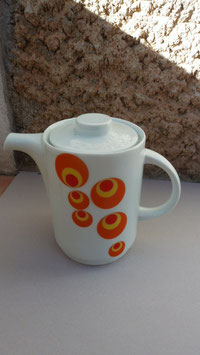 CAFETIERE DEC ELODIE DECOR  ORANGE VINTAGE . PROVIENT D ITALIE . ANNEE 60.