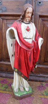 STATUE  EN PLATRE 60 CM : LE  CHRIST SUR SOCLE SANS LES MAINS. PORTE LE NUMERO 16