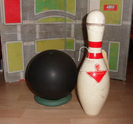 QUILLE ABC AMERICAN  BOWLING CONGRESS + 1 BOULE DE BOWLING MANHATTAN RUBBER GY6768 ANNEE 70