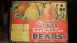 """CAISSE EN BOIS DE 1965  CONTENAIT DES POIRES D AFRIQUE:  """"CHOICE SOUTH AFRICAN PEARS"""""""