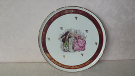 PLAT A GATEAUX DECOR ROMANTIQUE PORCELAINE DE FRANCE