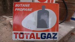 TOLE PEINTE GENRE  EMAIL  TOTAL GAZ DOUBLE FACE 60 X 50 CM