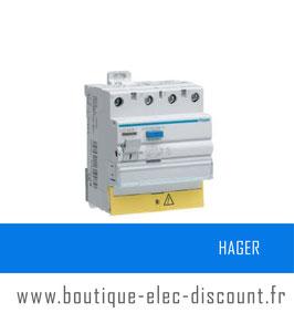 Interrupteur différentiel Hager 3P+N 40A 30mA HI Réf : CDH840F