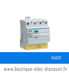 Interrupteur différentiel Hager 3P+N 40A 30mA AC Réf : CDC840F