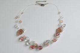 Schwebende Perlen, 3-reihig, apricot/weiß