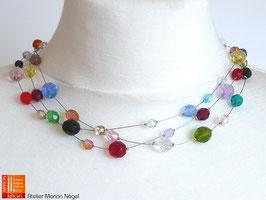 Halskette bunte Perlen Glas weiche Stahlseide 3-reihig