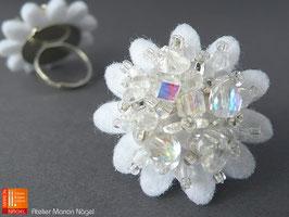 Blumenring Glasschliffperlen, weiß glasklar