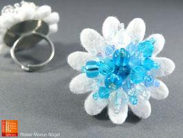 Blumenring Glasschliffperlen, weiß türkisfarben