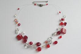 Schwebende Perlen, 3-reihig rot/weiß