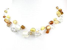 Halskette aus Nylonschnüren mit Glasperlen, 3-reihig, braun/goldgelb/weiß/kristallklar