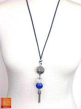 """Halskette mit Kugelanhänger und Seidenbändern """"Blau Silber"""""""