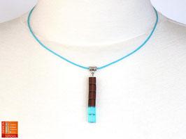 Puristische Halskette Collier PUR Y - braun/türkis mit Glaswürfeln
