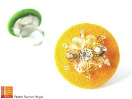 Filzring mit Glasschliffperlen, gelb