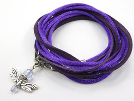 Armband lils mit Libelle, Farbe personalisierbar