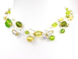 Halskette aus Nylonschnüren mit Glasperlen, 3-reihig, grün/gelb/goldfarben