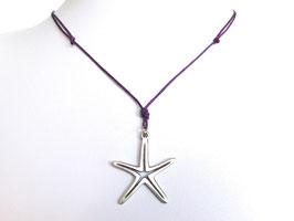 Halskette mit Seestern und Baumwollband lila ✶ auch in anderen Farben