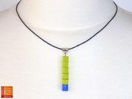 Puristische Halskette Collier PUR Y - grün/blau mit Glaswürfeln