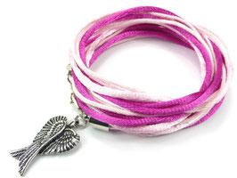 Armband Rosa-Pink mit Flügel, Farbe personalisierbar