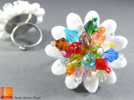 Blumenring mit Glasschliffperlen, weiß bunt