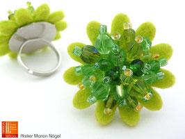 Blumenring Glasschliffperlen, grün