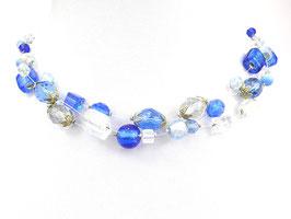 Halskette aus Nylonschnüren mit Glasperlen, 3-reihig, blau/weiß/kristallklar