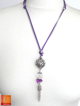 """Halskette mit Kugelanhänger und Seidenbändern """"Lila Silber"""""""