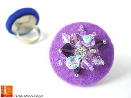 Filzring mit Glasschliffperlen, lila