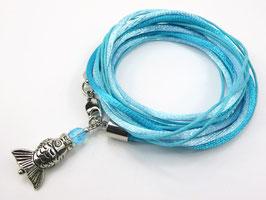 Armband türkis mit Fisch, Farbe personalisierbar