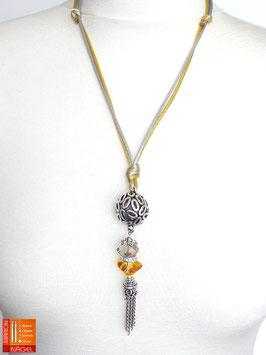 """Halskette mit Kugelanhänger und Seidenbändern """"Gold Silber"""""""