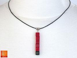 Puristische Halskette Collier PUR Y - rot/schwarz mit Glaswürfeln