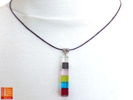 Puristische Halskette Collier PUR Y - multicolor mit Glaswürfeln