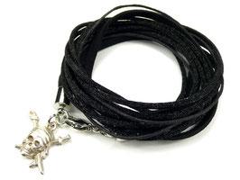 Armband schwarz mit Piratenkopf, Farbe personalisierbar