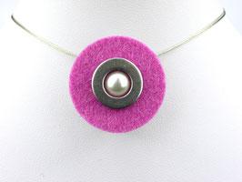 Puristische Halskette mit Anhänger aus pinkfarbenem Filz, Edelstahl und Perle