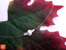 Puristische Halskette Collier PUR 5 mit Zuchtperlen