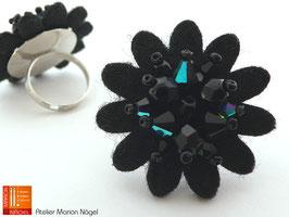 Blumenring Glasschliffperlen, schwarz