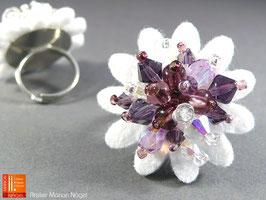 Blumenring Glasschliffperlen, weiß violett