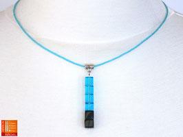 Puristische Halskette Collier PUR Y - türkis/schwarz mit Glaswürfeln